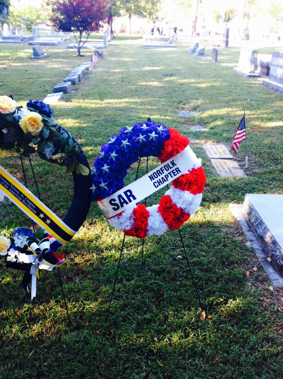 The Norfolk Chapter SAR wreath awaits presentation at the grave of General Thomas Nelson, Jr