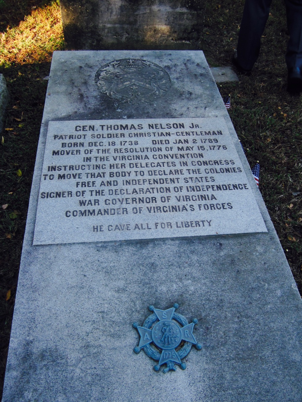 Grave of General Thomas Nelson, Jr at Grace Episcopal Church cemetery