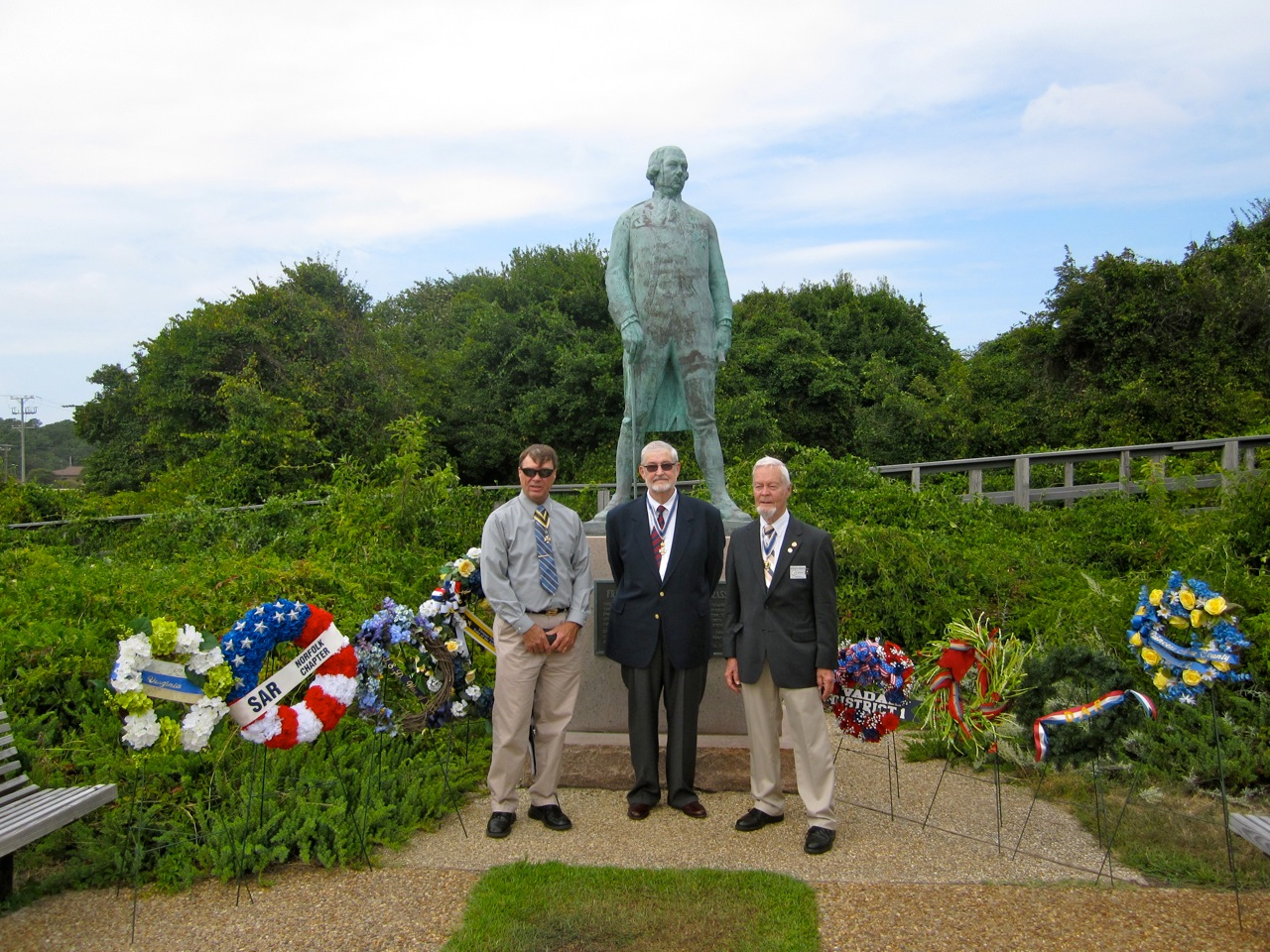 Thomas Nelson, Jr. Chapter SAR President Bruce Meyer, Norfolk Chapter SAR President Maury Weeks and Virginia State SAR President Reverdy Wright at the Admiral deGrasse Statue