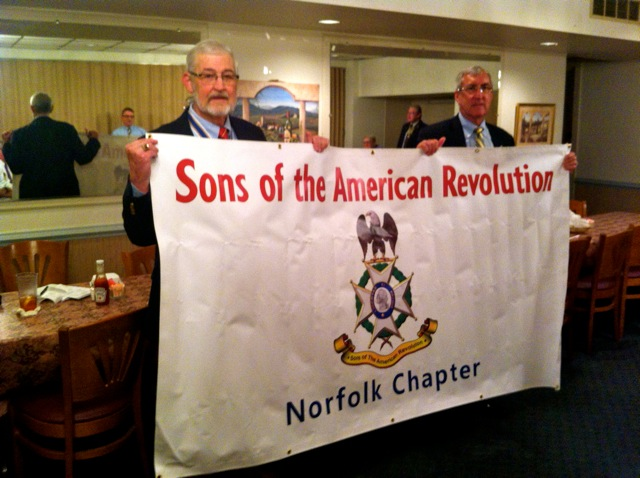 President Maury Weeks and Treasurer Ken Hawkins unveil the new Norfolk Society SAR Banner