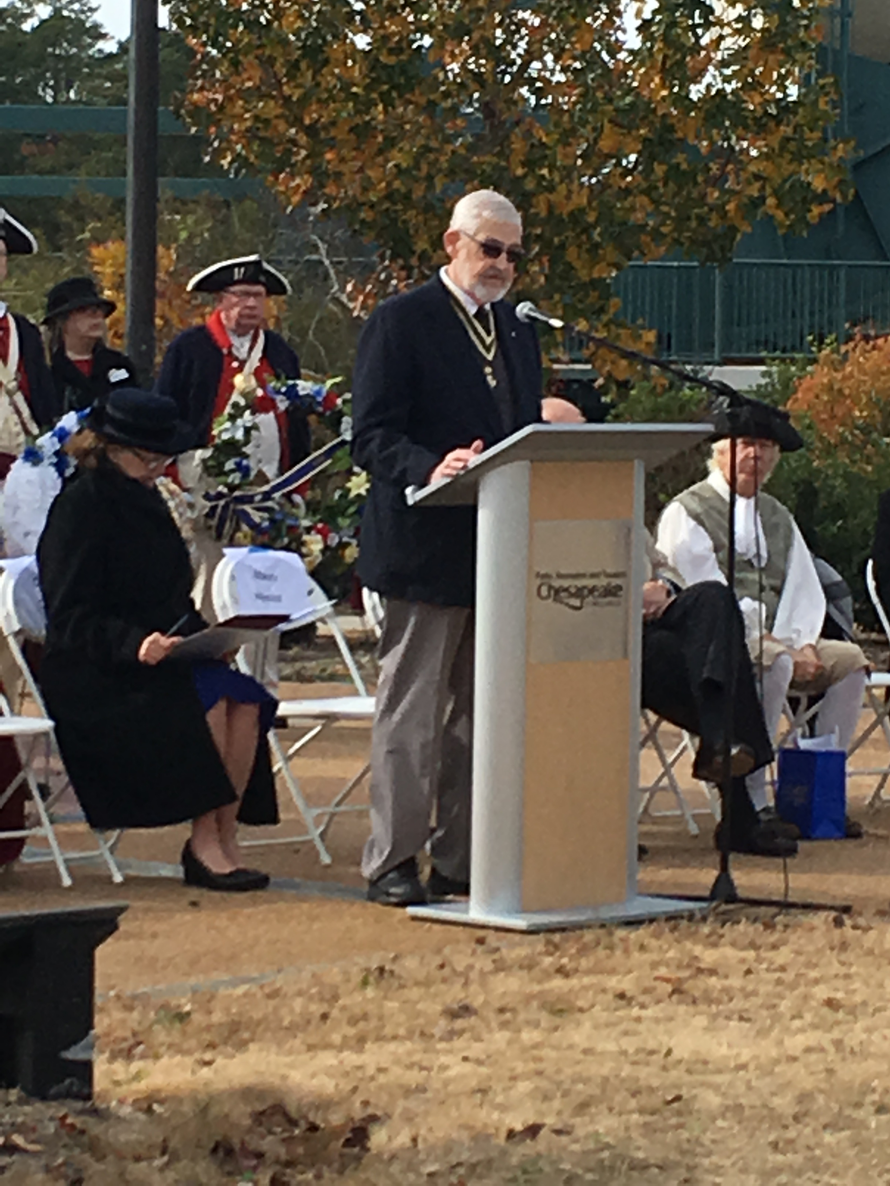 Norfolk Chapter SAR President Maury Weeks delivers his final speech at the Battle of Great Bridge Ceremony
