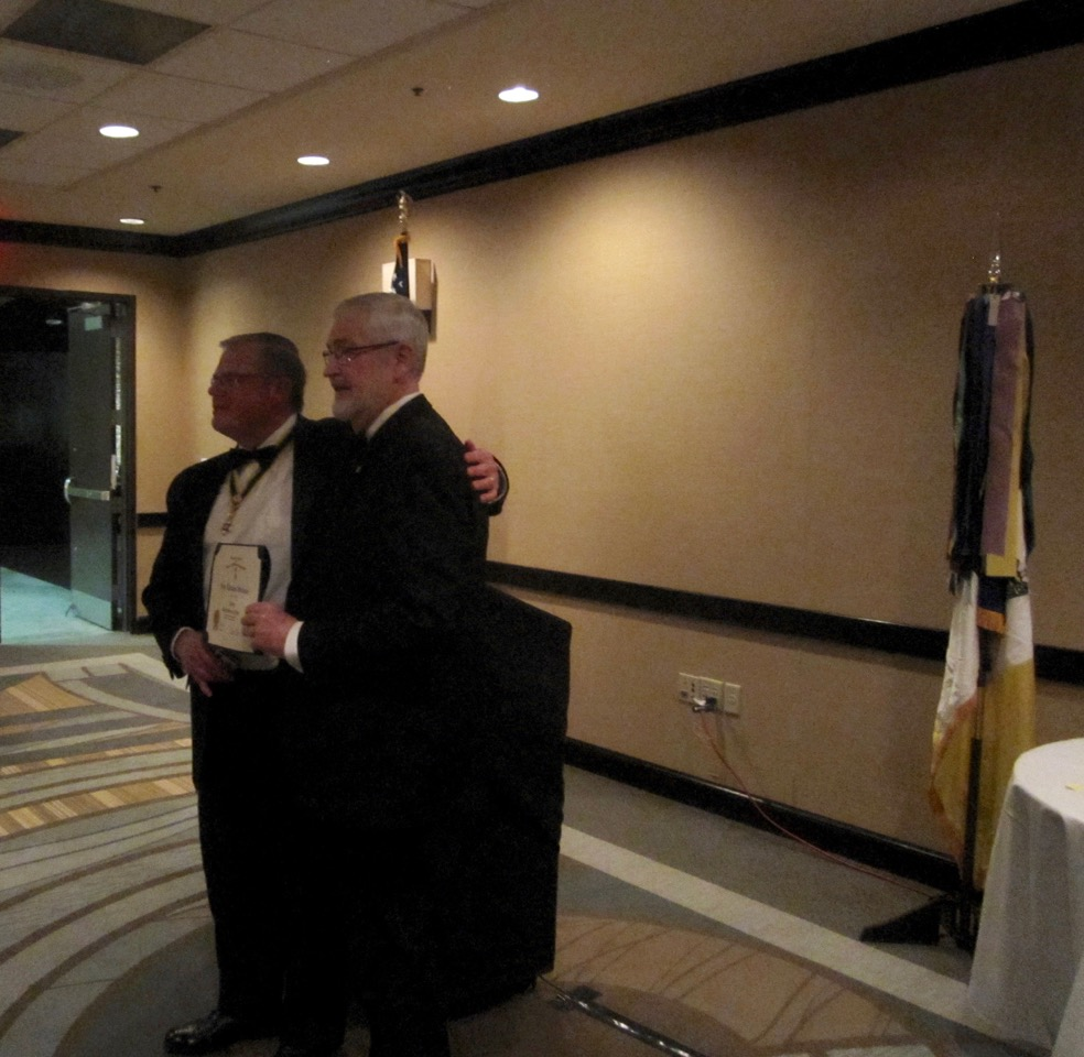 President Maury Weeks presents Past President Tom Whetstone with the Roger Sherman Award for his service in the  Commemoration of the Battle of Great Bridge. Tom was the Chairman, VASSAR Battle of Great Bridge Observance Committee.