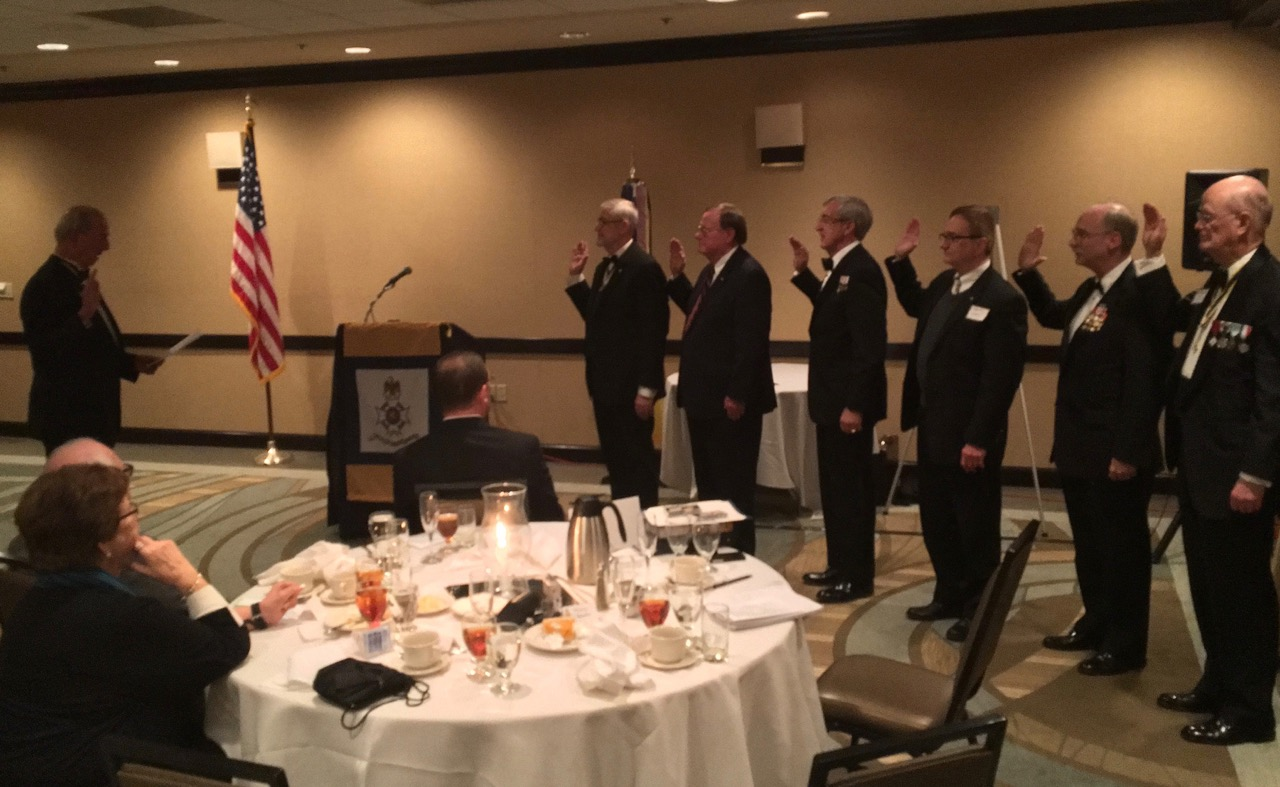 Virginia Society 1st Vice President Ed Truslow conducts the installation of the Norfolk Chapter SAR 2016 Officers. L to R : President Maury Weeks, Secretary Edward Douglas, Treasurer Ken Hawkins, Chaplain Charles Hassell, Historian Stu Whitehead and Chancellor Carter Furr
