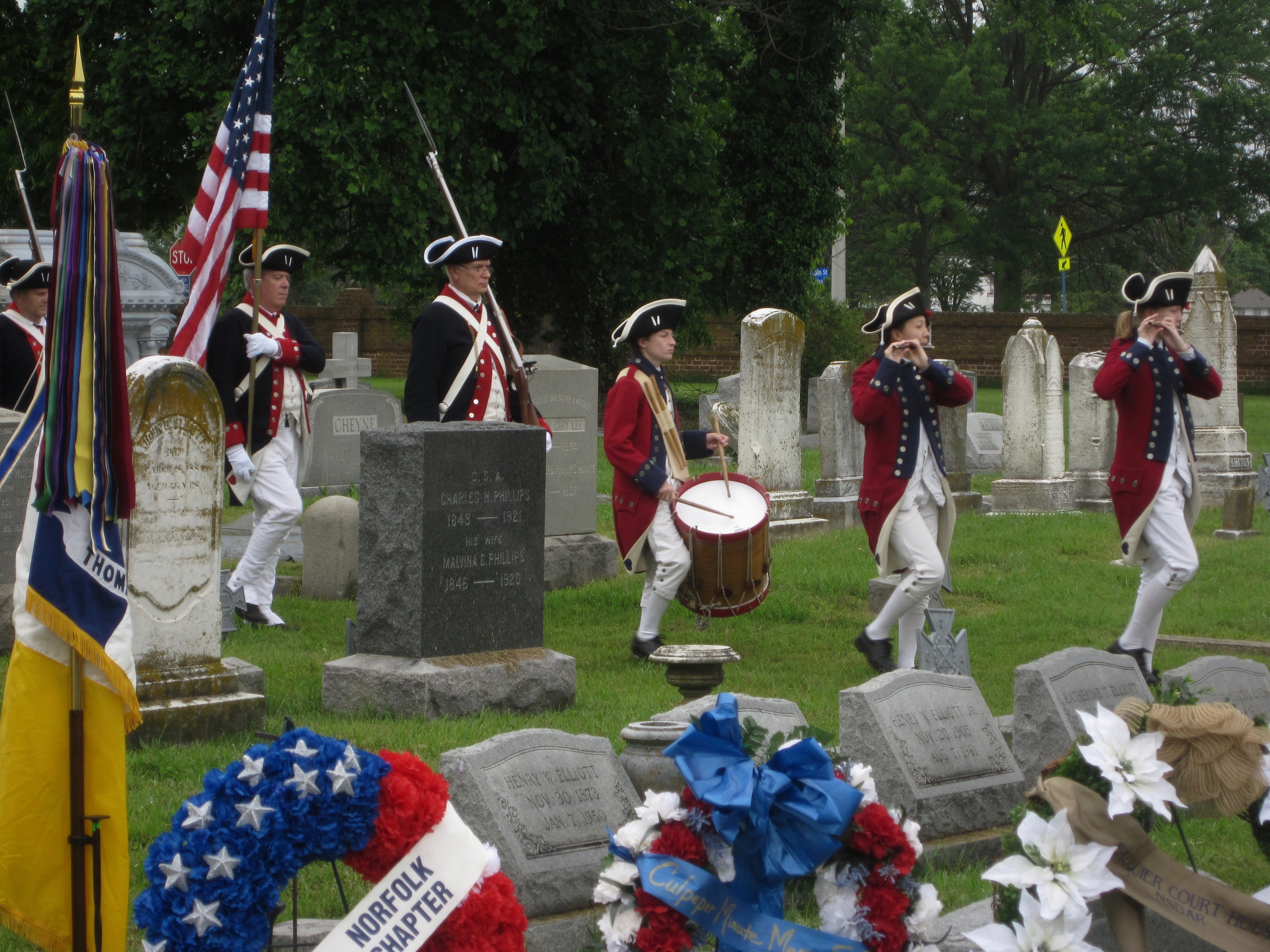 Entrance of the VASSAR Color Guard led by Norfolk Chapter Compatriot Chris Melhuish (Carrying the American Flag)