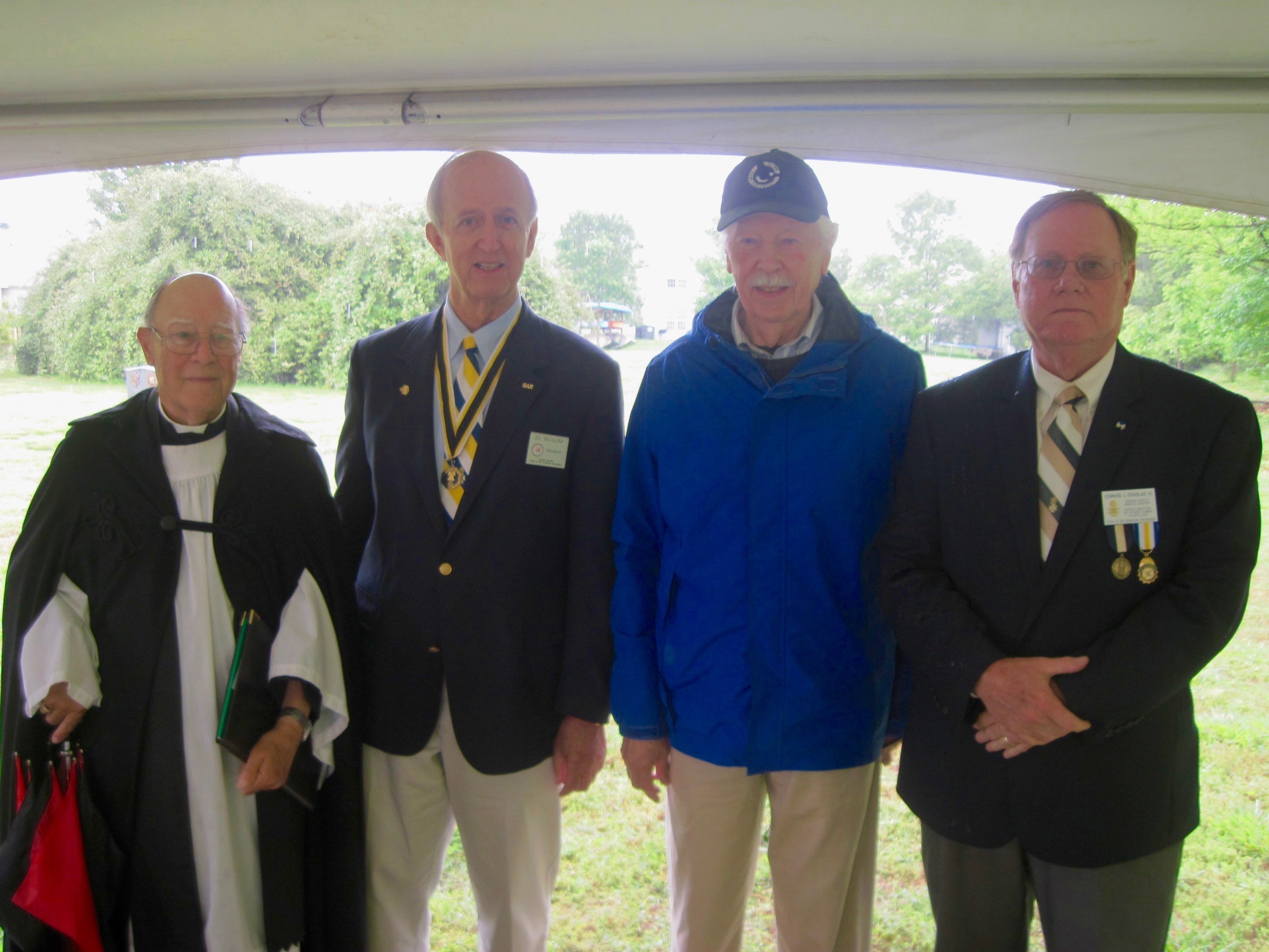 Attendees at the Dedication included L-R: Dr. Jim Henry, Chaplain, Williamsburg Chapter SAR, VASSAR President Ed Truslow, Mr. Fred Boelt, Williamsburg Chapter SAR and Edward Douglas, Secretary, Norfolk Chapter SAR