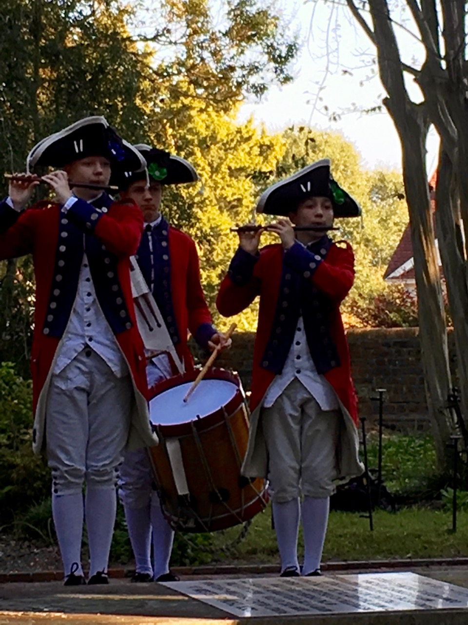 Yorktown Fife and Drum Corp performs at the beginning of the ceremony