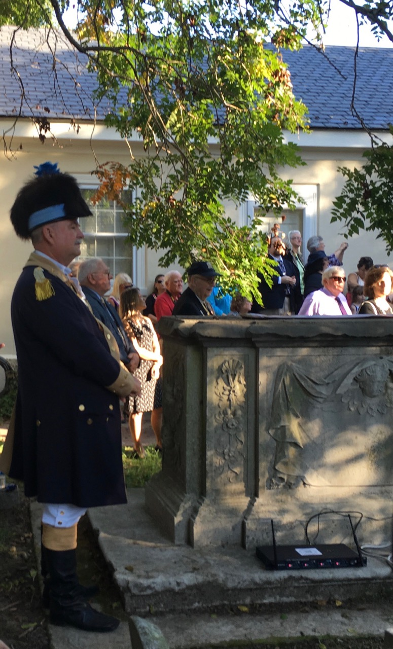 President General J. Michael Tomme, Sr. awaits to be announced to speak at the ceremony