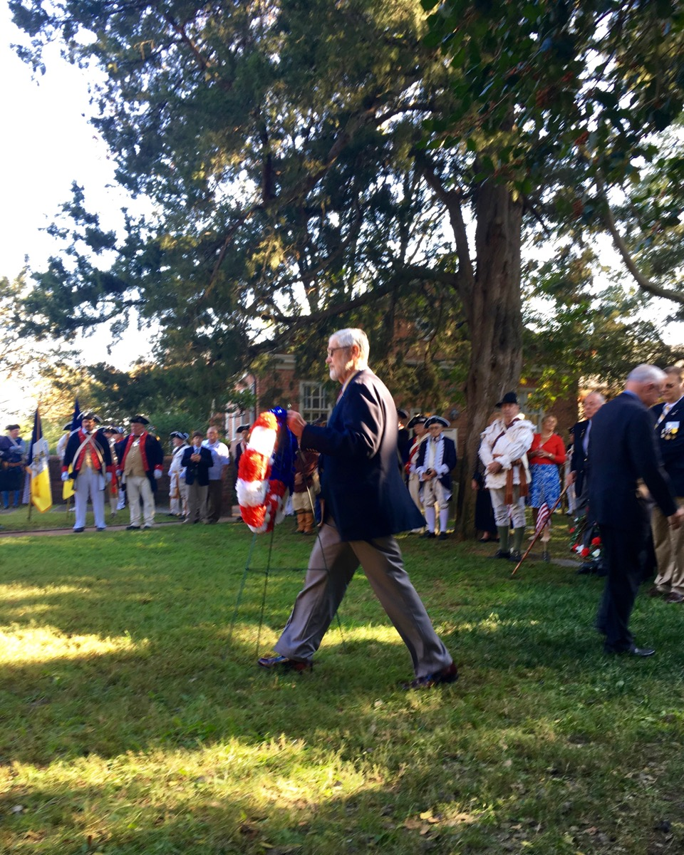 Norfolk Chapter SAR President Maury Weeks on his way to present the chapter wreath at the gravesite