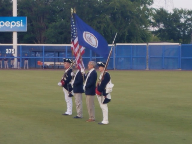 Color Guard presenting the Colors during the National Anthem before the game