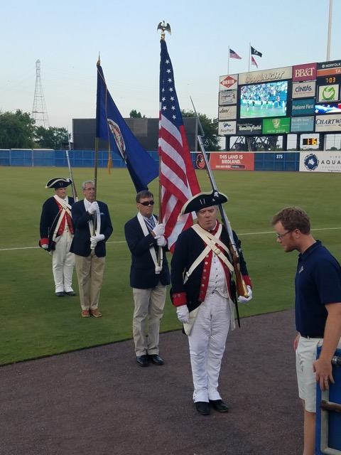 Color Guard prepares to take the field under the supervision of Mr. John Rogerson of the Norfolk Tides