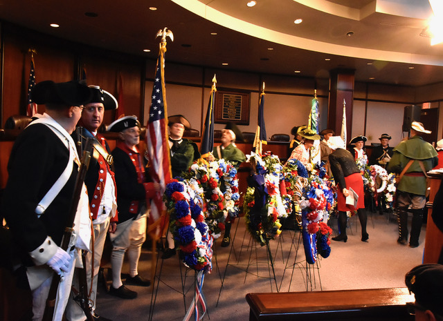 Presentation of wreaths from various SAR and DAR Chapters who were in attendance