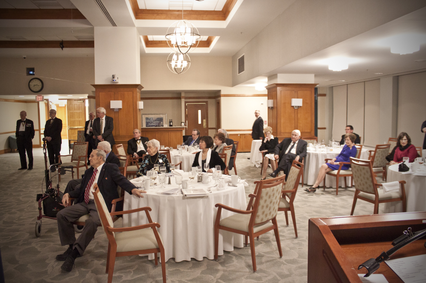 Members and their wives and guests listen to VASSAR President Mike Elston's presentation