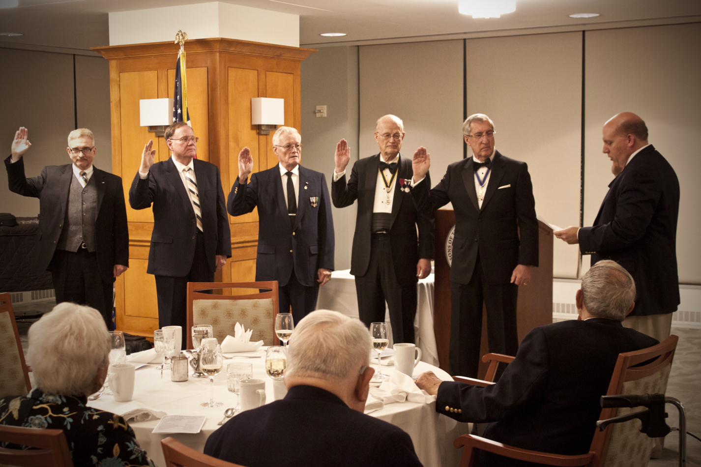 Officers of the Norfolk Chapter SAR are sworn in by VASSAR President Mike Elston