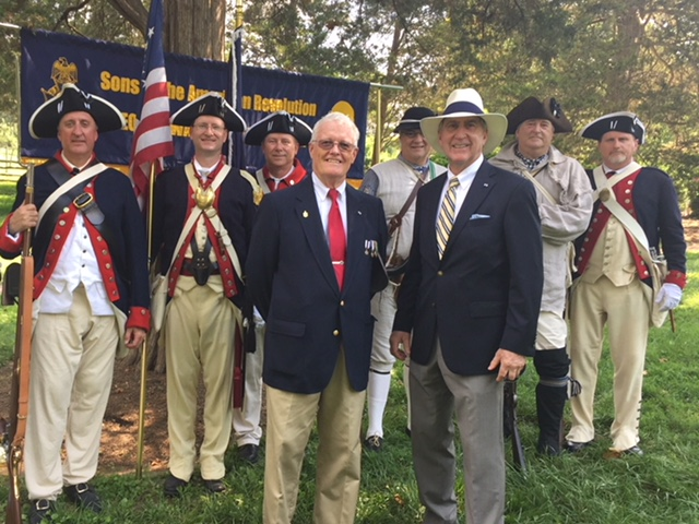 Norfolk Chapter President Ken Hawkins and Norfolk Chapter Treasurer Mike O'Shea attend the March to the Tomb at George Washington's Mt. Vernon on July 4, 2018