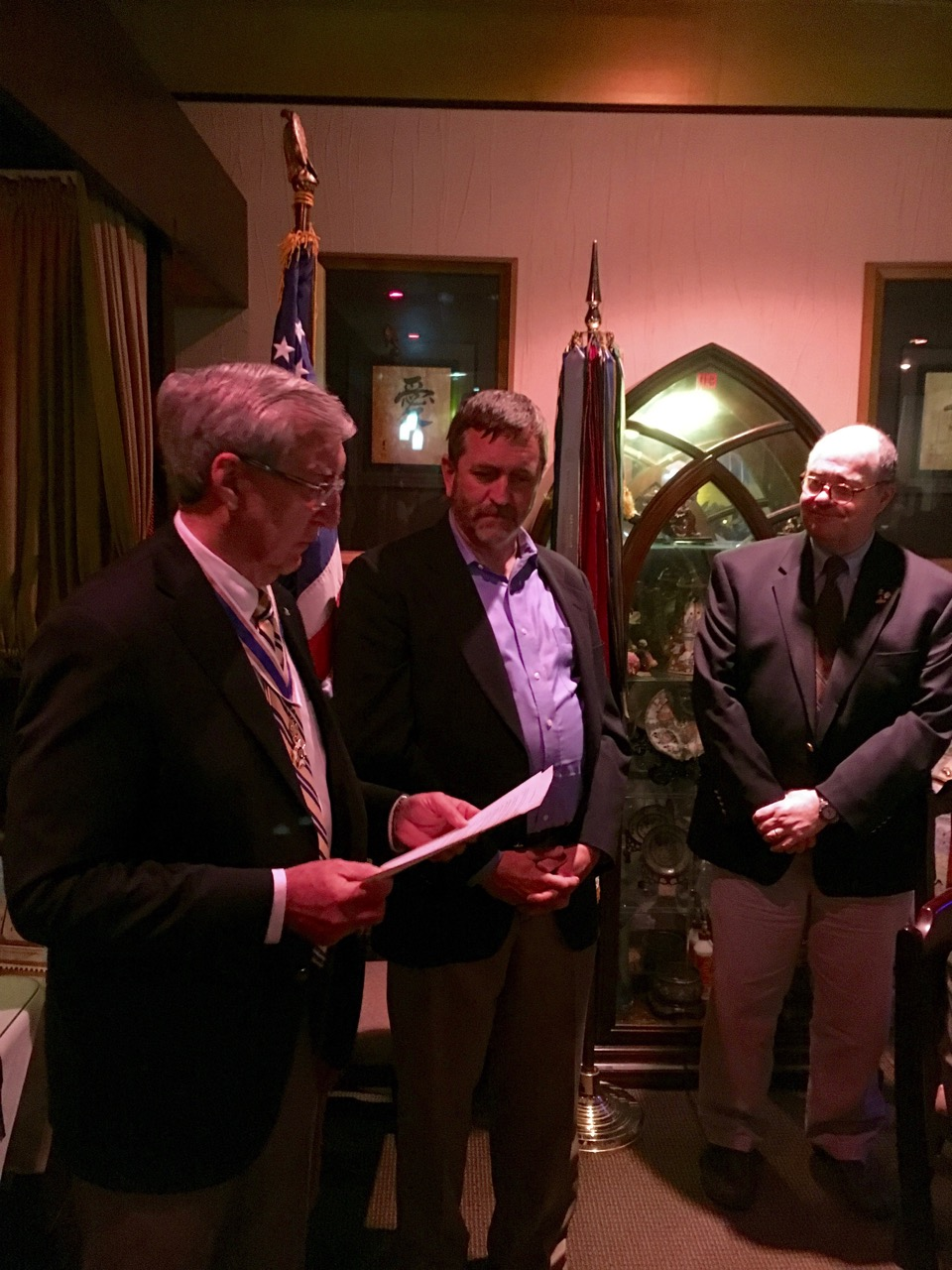 Steve Kelly is inducted as a new member to the Chapter by President Ken Hawkins as Registrar Bob Avery looks on