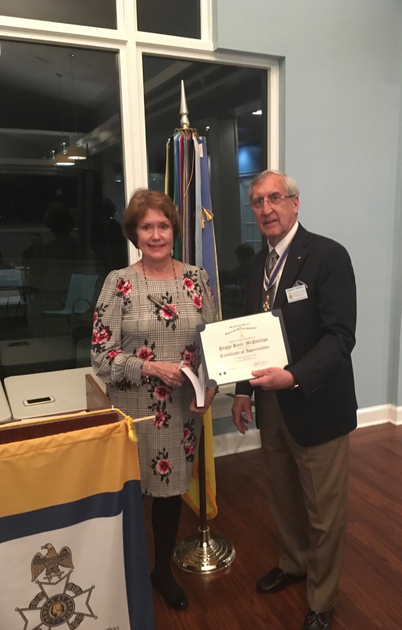 President Ken Hawkins presents a Certificate of Appreciation to Guest Speaker Peggy McPhillips, City of Norfolk Historian