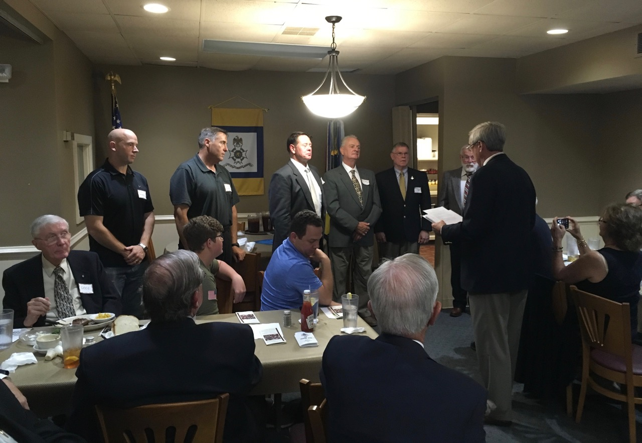 We were excited to have six new members inducted into the SAR and into our Chapter. President Ken Hawkins administers the induction ceremonies to Ed Dalley, Robert Grimes, James Yohe, Dan Bieker,Kimball Thompson and James Van Hook. Congratulations to all of our new Compatriots!!
