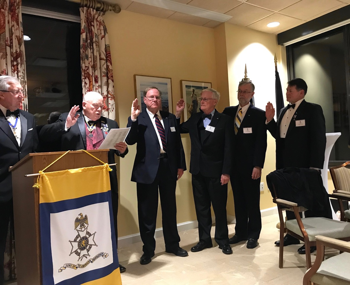Members of the Norfolk Chapter SAR are inducted in as officers of the Chapter by VASSAR President Patrick Kelly L to R: President Ken Hawkins, VASSAR President Kelly, Secretary Edward Douglas, Treasurer Mike O'Shea, Historian Tim Ahlgrim and Registrar James Yohe
