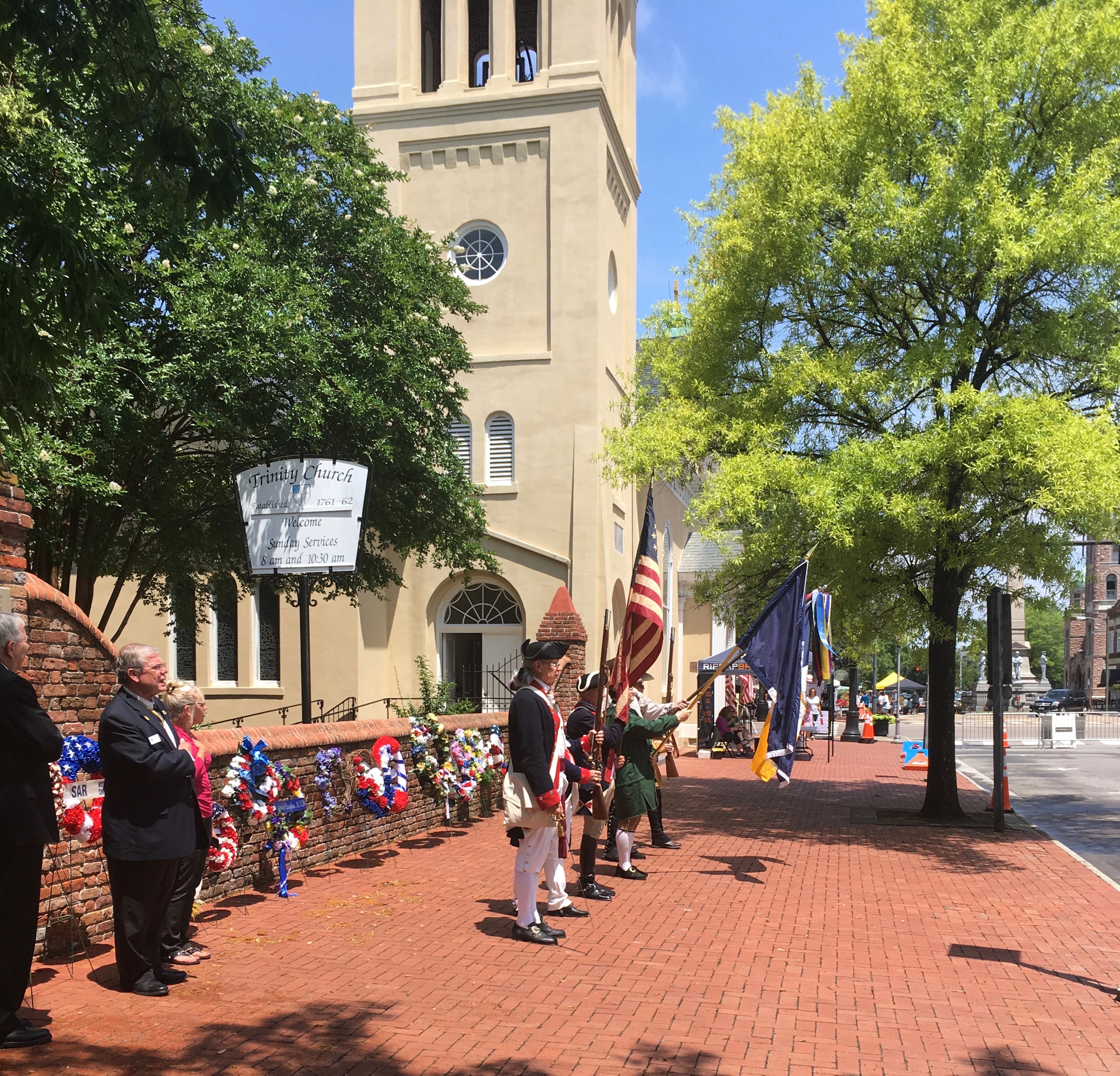 The SAR Color Guard presents the Colors at Trinity Episcopal Church