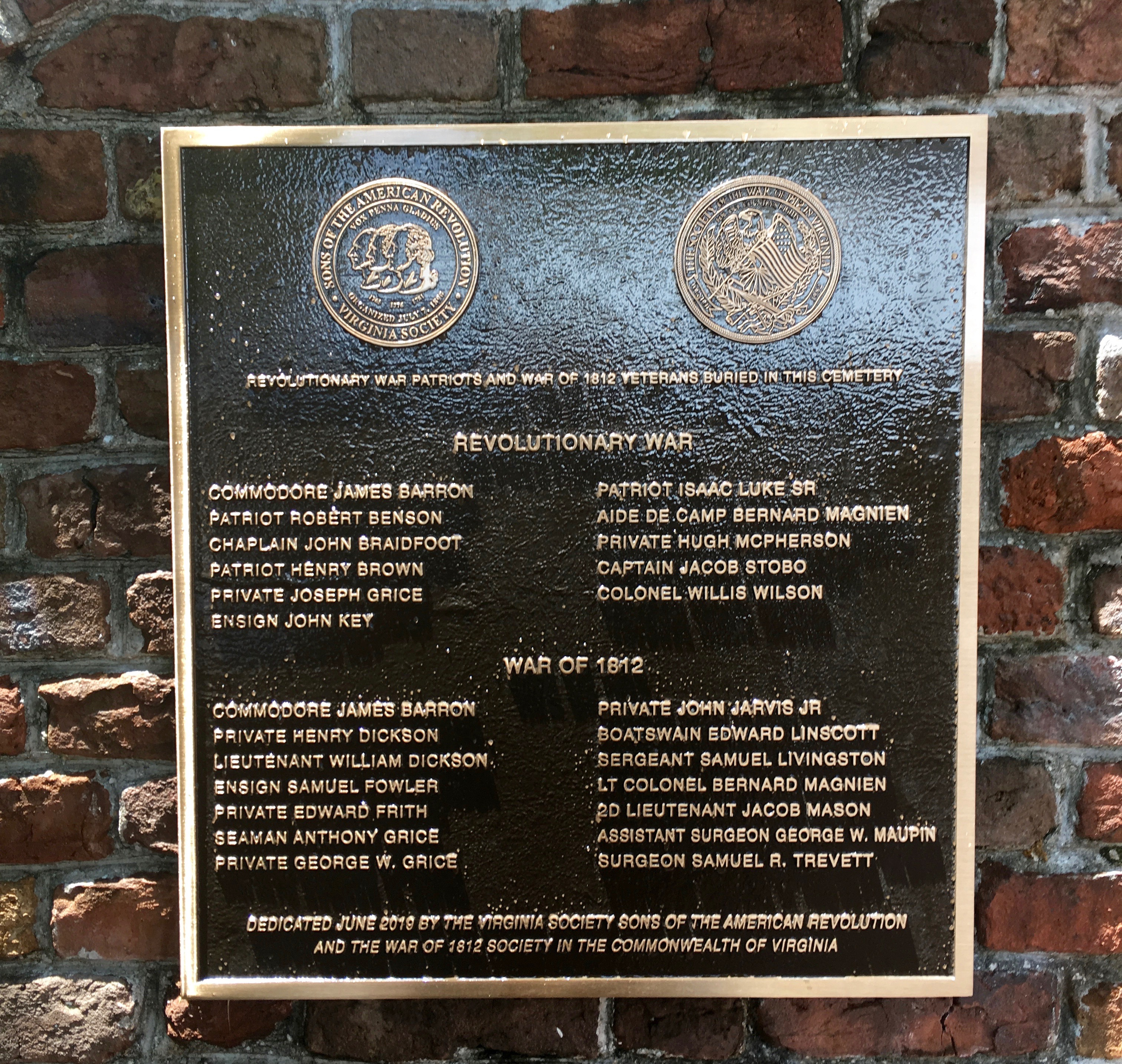 Close up of the Plaque at Trinity Episcopal Church Portsmouth, Va
