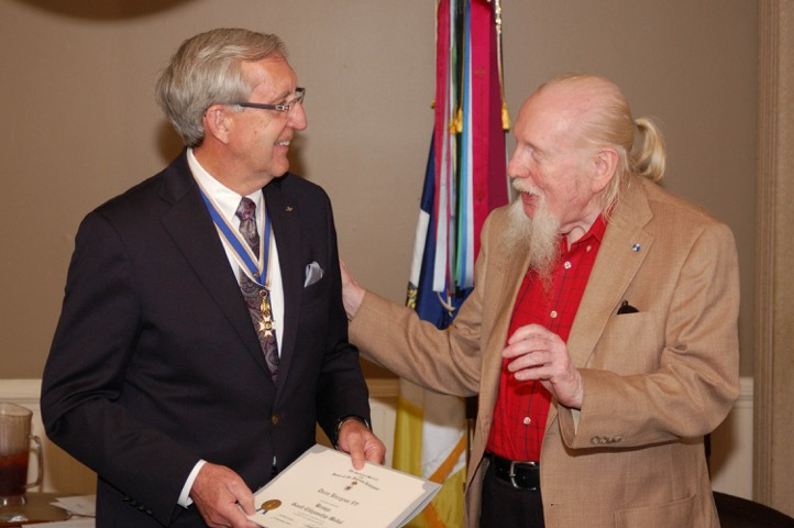 President Hawkins presents the Certificate and Bronze Good Citizen Medal to  Compatriot Dean Burgess